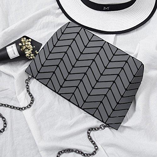 Aoligei 5 * 8 Matt Girl petit sac à bandoulière ondulés style japonais losange à géométrie variable sac D