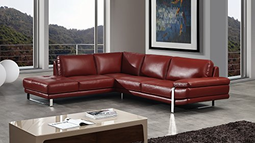 (American Eagle Furniture 2 Piece King Collection Top Grain Italian Leather Sectional, Sofa & Left Chaise, Red)