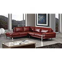 American Eagle Furniture 2 Piece King Collection Top Grain Italian Leather Sectional, Sofa & Left Chaise, Red