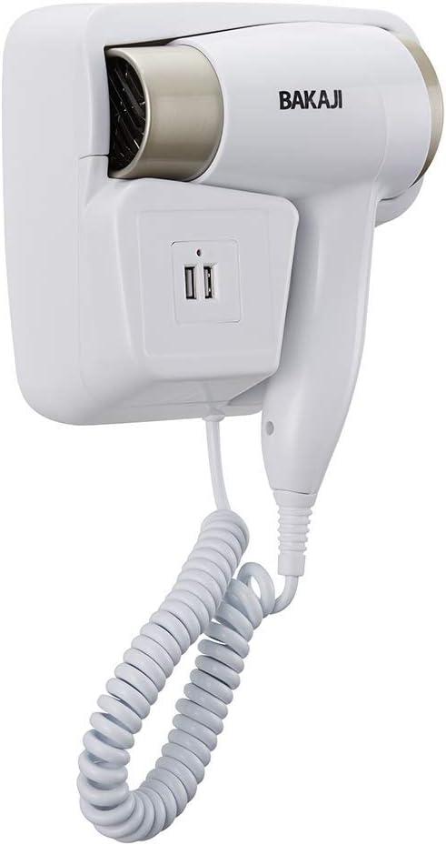 Bakaji Asciugacapelli da Parete Muro Phon Asciuga Capelli Bagno Potenza 1300W Temperatura Regolabile Ingresso USB Ricarica Smartphone 22x18x6cm Colore
