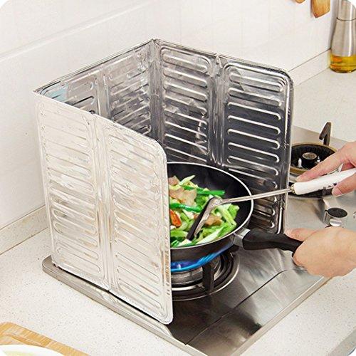FUNOC 1Pcs Kitchen Stove Foil Plate Gas Stove Baffle Plate Aluminum Foil Frying Oil Splash Guard Cooking Cover Anti Splatter Shield Screen (Oil Baffle)