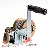 Heavy Duty Hand Winch, 600Lbs Hand Crank Strap Cable Gear Winch ATV Boat Trailer (5.9 x 3.1 x 4.5') (US STOCK)