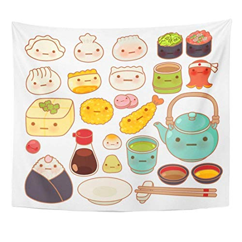 Tapestry Collection of Lovely Baby Japanese Oriental Food Doodle Cute Sushi Adorable Dumpling Sweet Tempura Kawaii Home Decor Wall Hanging for Living Room Bedroom Dorm 50x60 inches ()