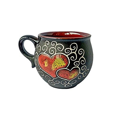 - Handmade Coffee Mugs Pottery Mugs as a Perfect Gift Mug For Mom Dad Women Men Girlfriend Boyfriend Unique Coffee Mugs – Red Heart (6.6)