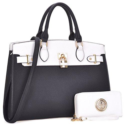 Designer Luxury Handbags (Belted Purses for Women, Vegan Leather Two-Tone Padlock Satchel Top Handle Desginer Tote w/Wallet Set (MKP-FN-03-6876-W-WT/BK))