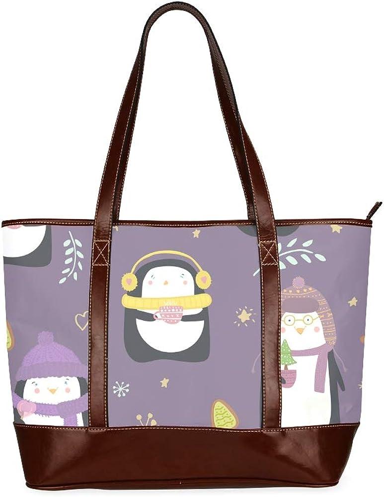 Tote Bags Cute Penguins Funny Hats Scarves Travel Totes Bag Fashion Handbags Shopping Zippered Tote For Women Waterproof Handbag