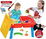 Sand and Water Table, Aquatic Arena Sandbox Activity Play Set - Play Sand and Water Creative Sensory Table with Lid & Accessories, Includes 10 Piece Beach Toy Play Set, With Bonus Water Gun & E-Book