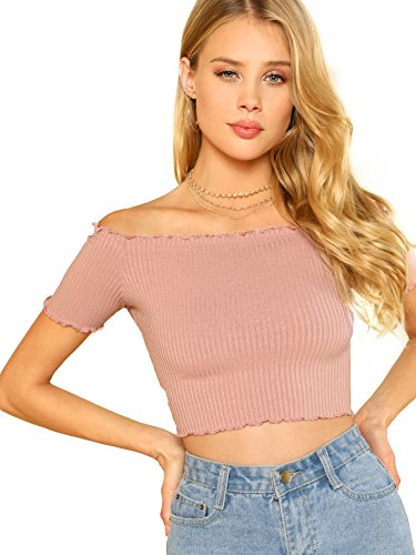 WDIRARA Women's Off The Shoulder Lettuce Edge Bardot Crop Slim Fit Tops Blouse Pink XS ()