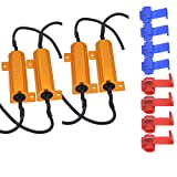 KaTur 4pcs 50W 8ohm LED Load Resistors for LED Turn Signal Lights or LED License Plate Lights or DRL (Fix Hyper Flash, Warning Cancellor) with 8pcs Quick Wire Clip