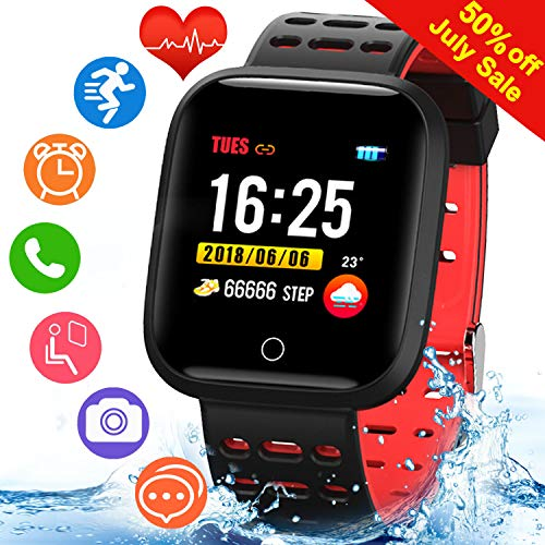 1.3'' Sport Smart Watch Activity Fitness Tracker with Outdoor Sport Modes,IP67 Waterproof with Heart Rate Montior,Sleep Montior Calorie Step Counter,Bluetooth Watch for Men Women Caller Reminder(Red) ()