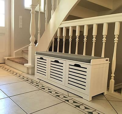 Haotian Storage Bench with Drawers & Padded Seat Cushion, Hallway Bench Shoe Cabinet Shoe Bench