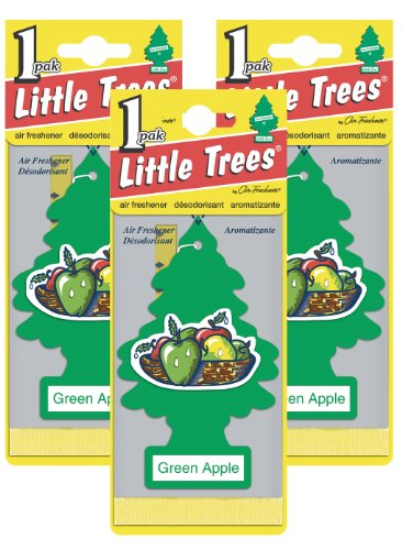 LITTLE TREES Car Air Freshener | Hanging Paper Tree for Home or Car | Green Apple | Pack of 3