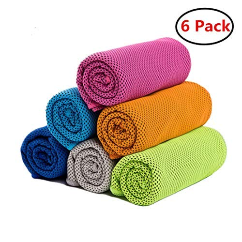 ZONLY [6 Pack] Cooling Towel, Ice Sports Towel,Microfiber Towel, Cool Towel for Instant Cooling,for Yoga, Travel, Golf, Gym,Camping, Fitness, Running, Workout & More Activities (35