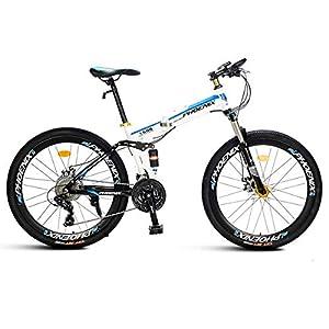 51OBPtAIvcL. SS300 WZB Mountain Bike 21/27 Speed Steel Frame 26 Pollici Razze Ruote Sospensione Bici Pieghevole, Bianco, 27 velocità
