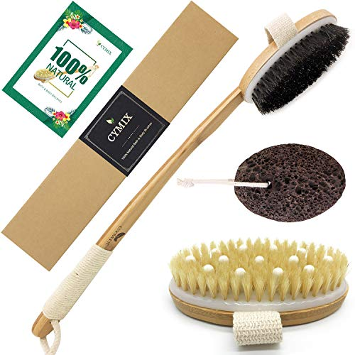 Body Brush Exfoliating Sets - Wet Dry Brushing & Lava Pumice Stone - 100% Natural Softer & Stiffer Bristle 18