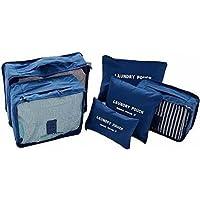 Kit 6 Necessaire Organizador Bolsa Mala Viagem E-bag Mochila Azul