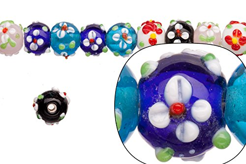 Glass Bead, Petal Flower on Color Glass, Mix Color Pack, 13mm Bumpy Rondelle Sold Per 20pcs/string ()