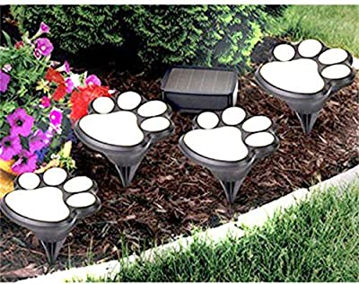 Little Story paw Print, Hot 4 Solar Dog Cat Animal Paw Print Lights Garden Outdoor LED Path Lamp Auto On