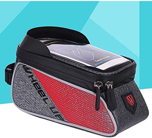 自転車トップチューブハンドルバーバッグ携帯電話ブラケット固定フレームタッチスクリーン自転車マウンテンバイクバッグ,Red