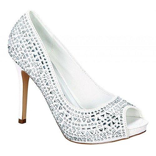 DeBlossom Collection Shimmery Dressy Bridal Rhinestone Open Toe Pump (Brenda Pump)