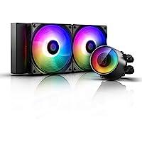 DeepCool Castle 240RGB V2 - Sistema de refrigeración antipalanca, radiador de 240 mm, disipador de líquido RGB Rainbow…