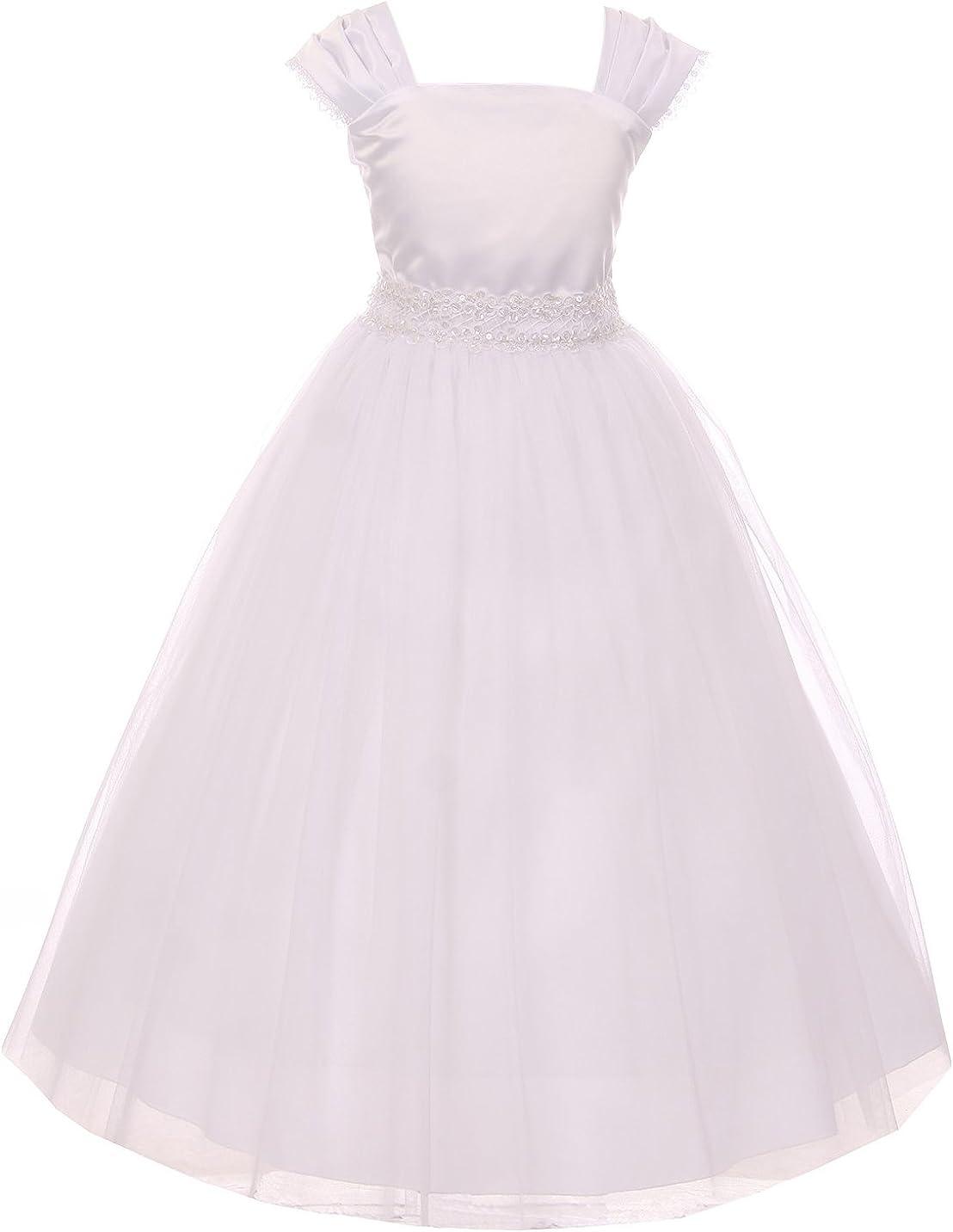 Flower Girl Cap Sleeved Big Girls White Dress First Holy Communion