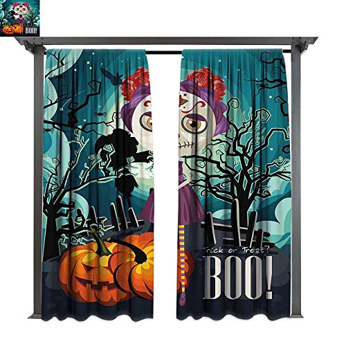 Halloween, Outdoor Free Standing Outdoor Privacy Curtain, Cartoon Girl with Sugar Skull Makeup Retro Seasonal Artwork Swirled Trees Boo, for Front Porch Covered Patio Gazebo Dock Beach Home (W96 x L ()