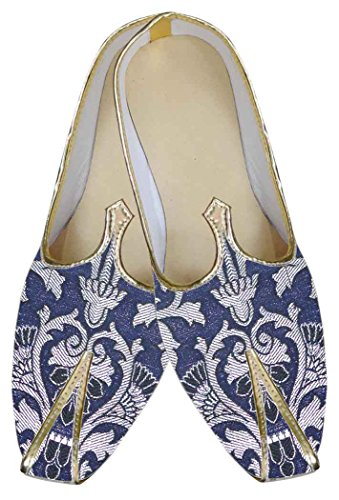 Mens Navy Blue Indian Shoes Floral Design MJ0135