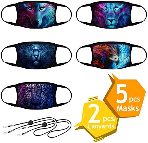 Reusable Face Mask, 5pcs Washable Protective Face Mask with 2pcs Mask Lanyard Strap, Unisex Cloth Face Mask Dust Outdoor, Safety 2 Layers Face Cover for Adults, Men & Women
