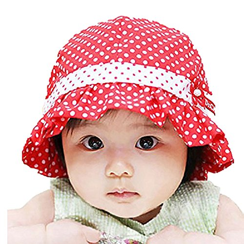 PULABO Newborn Baby Girls Cute Polka Dot Flower Bucket Sun Hat Infant Princess Cap (Kids Red Bucket Hat)