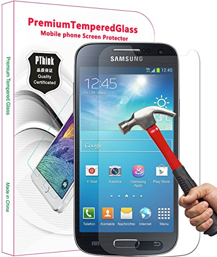 PThink Ultra-thin Tempered Glass Screen Protector for Samsung Galaxy S4 Mini with 9H Hardness/Anti-scratch/Fingerprint resistant (Samsung Galaxy S4 Mini)