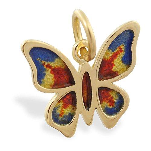 MsPiercing 14K Gold Butterfly Enameled Pendant ()