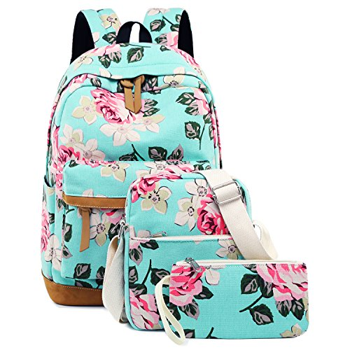 Backpacks For Tweens (School Backpacks for Teen Girls Lightweight Canvas Backpack Bookbags Set (Light Green-)