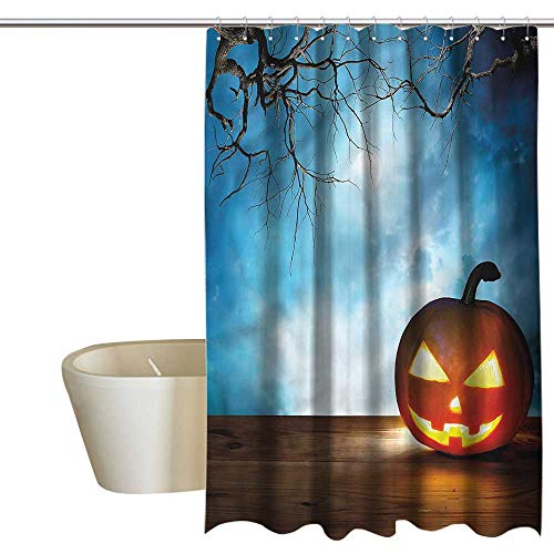 Denruny Shower Curtains Green and Blue Halloween,Celebration Icon Pumpkin,W55 x L84,Shower Curtain for Small Shower stall]()