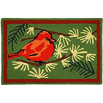 Jellybean Cardinal In The Pines Indoor Outdoor Rug With Border