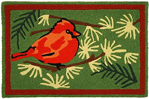 Jellybean Cardinal in the Pines Indoor Outdoor Rug with - Border Outdoor Indoor Rug
