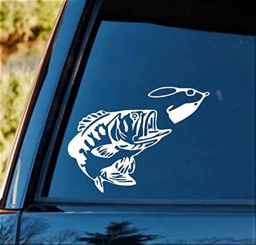Bluegrass Decals Largemouth Bass with Fishing Lure Vinyl Decal Sticker