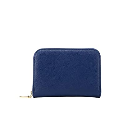 RFID Crédito Tarjetero, Monedero Multifuncional de con Cremallera para Mujer Hombre, Caja de Regalo (Azul Oscuro)