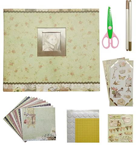 idull Vintage Scrapbook Kits 8x8 with Scrapbooking Supplies for Starters (Grey, - Scrapbook Album 12x12 Scouts