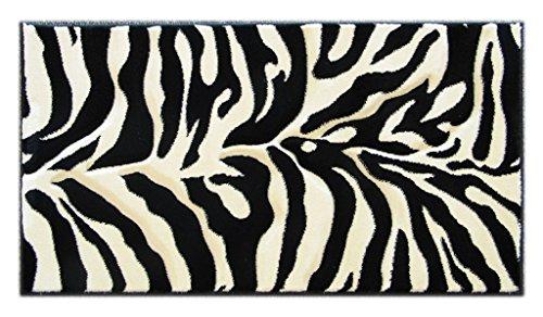 Hand Carved Zebra Door Mat Black