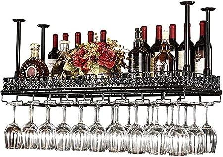 Estantes para Vino, Soporte para Botella De Vino Colgante para Montaje En El Techo De Altura Ajustable, Estante para Copas De Vino De Hierro Metálico, Estantes para Copas De Copa-Black||100 * 35cm