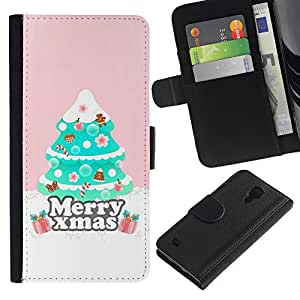 SAMSUNG Galaxy S4 IV / i9500 / SGH-i337 Modelo colorido cuero carpeta tirón caso cubierta piel Holster Funda protección - Christmas Tree Pink Winter