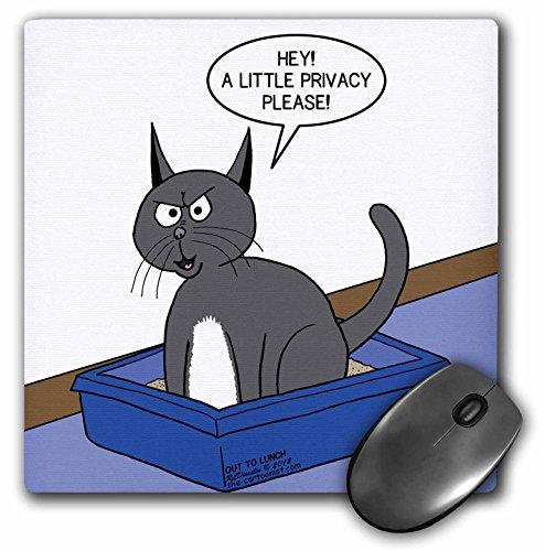 3dRose Rich Diesslins Out to Lunch Cartoons - OTL - Cat Courtesy - a.k.a. Kitty Litter Privacy - MousePad (mp_42880_1) (Ak Litter Cat)