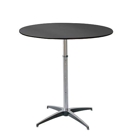 MityLite ABS Plastic 36u0026quot; Round Adjustable Cocktail Table   Black,  Grey, Or Beige