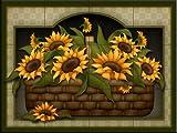 Ceramic Tile Mural - Sunflower Basket - by Angela Anderson - Kitchen backsplash/Bathroom shower
