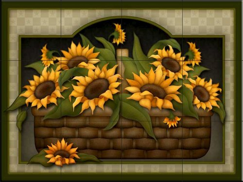 Ceramic Tile Mural - Sunflower Basket - by Angela Anderson - Kitchen backsplash Bathroom shower