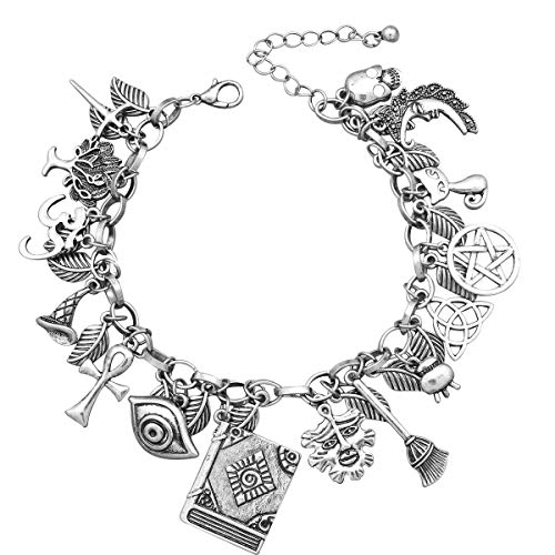 Witches Knot - RechicGu Vintage Silver Mythology Fairytale Lucky Charms Cuff Bangle Bracelet Cross Leaf Moon Face Celtic Cat