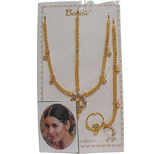 Indian Gold-Toned Belly Dance Costume Accessory Head and Nose Chain with Dangling Rhinestones (Indian Dance Costumes And Accessories)
