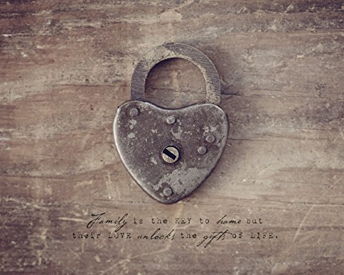 Lock and Key Rustic Home Decor Wall Art Photograph with Inspirational Family Quote