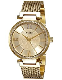 Guess Women's SOHO Gold-Tone Dial Steel Bracelet & Case Quartz Analog Watch W0638L2